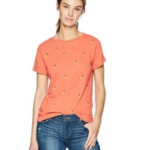 Lucky Brand Orange Pineapple print T Shirt Top